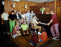 New Brighton Hotel, Parksville, NY, Group of vacationers singing by the piano