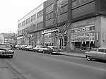 Pittsburgh PA:  View of East Liberty Motors on Baum Boulevard.  The company was owned by Babe Aronson and Mel Cummings - 1956.