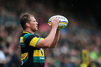 Dylan Hartley of Northampton Saints looks to throw the ball into a lineout. Aviva Premiership match, between Northampton Saints and Bath Rugby on September 3, 2016 at Franklin's Gardens in Northampton, England. Photo by: Patrick Khachfe / Onside Images