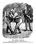 """The Trust Clinch. President Wilson. """"Break away there, gentlemen!"""" (Wilson carries a Message To Congress while breaking up two Railway Magnates from hugging during a boxing match)"""