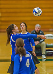 1 November 2015: Yeshiva University Maccabee Middle Blocker Gavriela Colton, a Junior from Teaneck, NJ, bumps against the SUNY College at Old Westbury Panthers at SUNY Old Westbury in Old Westbury, NY. The Panthers edged out the Maccabees 3-2 in NCAA women's volleyball, Skyline Conference play. Mandatory Credit: Ed Wolfstein Photo *** RAW (NEF) Image File Available ***