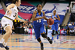 04 March 2016: Duke's Kyra Lambert (15) and Notre Dame's Marina Mabrey (3). The Duke University Blue Devils played the University of University of Notre Dame Fighting Irish at the Greensboro Coliseum in Greensboro, North Carolina in an Atlantic Coast Conference Women's Basketball Tournament Quarterfinal and a 2015-16 NCAA Division I Women's Basketball game. Notre Dame won the game 83-54.