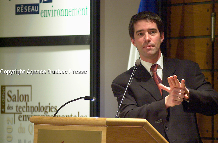 April 11, 2002,Quebec, Quebec, Canada<br /> Andre Boisclair ,  Quebec State Minister for Environment and Water, State Minister for Municipal Affairs and for the Metropol (Montreal), adress the participants of  the Environmental Technologies Trade Show and Conferences, on the 2nd of the event  in Quebec City, april 11. 2002