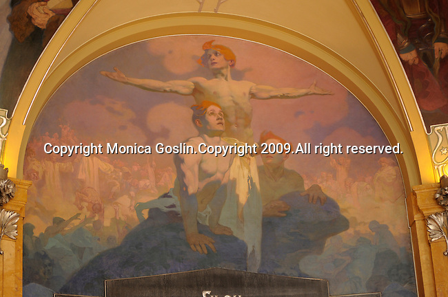 A painting on by Mucha in the Municipal House in Prague, Czech Republic.