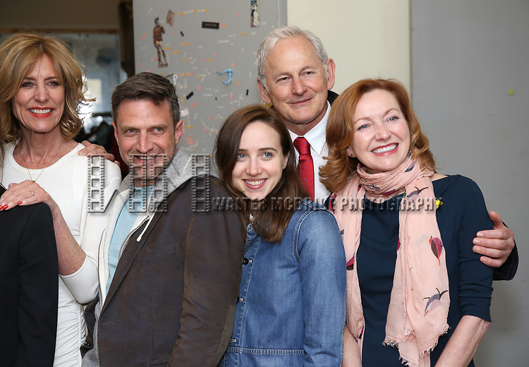 Christine Lahti, Raul Esparza, Zoe Kazan, Victor Garber and Julie White backstage at the Indigo Theatre Project's Benefit Reading of  'An America Daughter'  at The Tony Kiser Theater on May 8, 2017 in New York City.