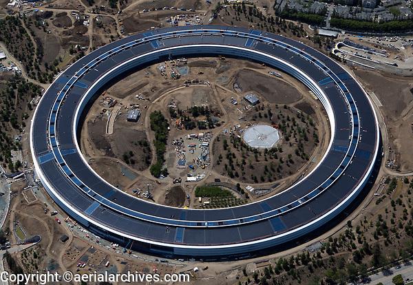 aerial photograph Apple Park under construction, Cupertino, Santa Clara County, California