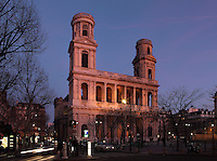 Eglise Saint-Sulpice (St Sulpitius' Church), two storey colonnade of superimposed Doric and Ionic columns, c.1646-1745. Chancel of the late Baroque church by Christophe Gamard, Louis Le Vau and Daniel Gittard; church completed 1714-45 by Gilles-Marie Oppenord; West front, 1766, by Giovanni Servandoni; North tower, 1778-80, by Jean Chalgrin. Picture by Manuel Cohen