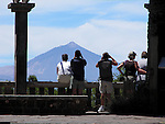View point looking towards Mount Teide, Cañadas national park, Tenerife Canary islands,