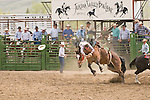 A cowboy looses his hat and dives toward the dirt after being bucked off his saddle bronc at the Jordan Valley Big Loop Rodeo, Ore.--saddle bronc riding