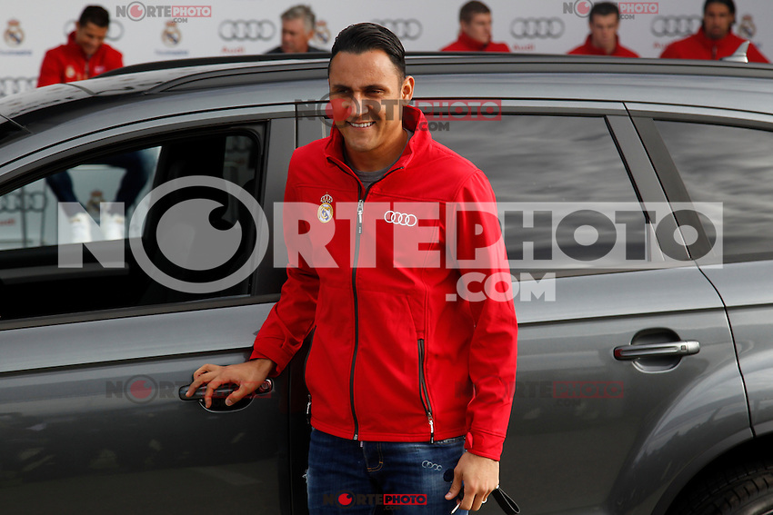 Keylor Navas participates and receives new Audi during the presentation of Real Madrid's new cars made by Audi in Madrid. December 01, 2014. (ALTERPHOTOS/Caro Marin) /Nortephoto