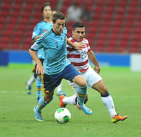 USA U20's Daniel Cuevas (R) and Spain U20's Javier Manquillo (L) during their FIFA U-20 World Cup Turkey 2013 Group Stage Group A soccer match USA U20 betwen Spain at the Kadir Has stadium in Kayseri on June 21, 2013. Photo by Aykut Akici/isiphotos.com