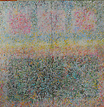 """Oil painting and poem on canvas.  Winter's Glaze by Jude Balthis. diptych. 48"""" x 48"""""""