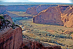 The evening sun washes Canyon de Chelly, Arizona.
