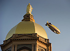 Oct. 22, 2011; The Goodyear blimp flies past the Golden Dome...Photo by Matt Cashore/University of Notre Dame