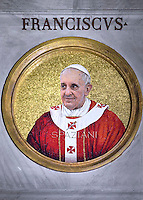 Mosaic of Pope Francis Celebration of the second vespers of Saint Paul basilica in Rome. January 25, 2015