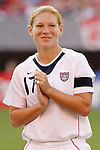 16 June 2007: United States midfielder Lori Chalupny, pregame. The United States Women's National Team defeated the Women's National Team of China 2-0 at Cleveland Browns Stadium in Cleveland, Ohio in an international friendly game.