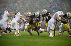 Oct. 13, 2012; Notre Dame running back Cierre Wood gains yardage during the fourth quarter against Stanford. Notre Dame won 20 to 13 in overtime. Photo by Barbara Johnston/University of Notre Dame