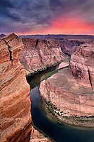 """SUNSET BEND"" -- A stormy sunset over one-half of Horseshoe Bend along the Colorado River of northern Arizona."