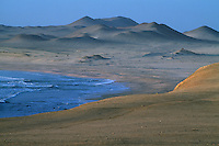 Reserva Nacional de Paracas, Peru. Dunes line the most important wildlife sanctuary, Reserva Nacional de Paracas, on the Peruvian coast known for it's birds and marine line.