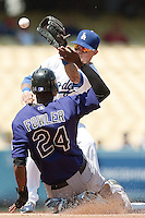 08/28/11 Los Angeles, CA:  Los Angeles Dodgers shortstop Justin Sellers during an MLB game played at Dodger Stadium between the Los Angeles Dodgers and the Colorado Rockies.  The Rockies defeated the Dodgers 7-6