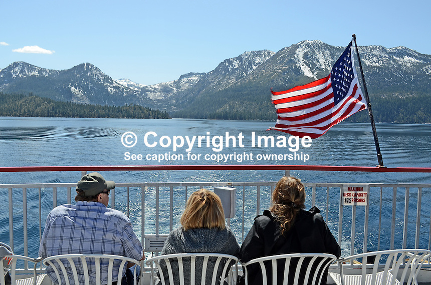 MS Dixie II, paddle steamer, Zephyr Cove, Nevada, USA, is the largest vessel on South Lake Tahoe. Snow-capped mountains are in California on the West bank of the lake. The lake itself is split vertically between Nevada in the East and California in the West. It traverses the lake from Zephyr Cove to Emerald Bay in California. 201304261896<br /> <br /> Copyright Image from Victor Patterson, 54 Dorchester Park, Belfast, UK, BT9 6RJ<br /> <br /> Tel: +44 28 9066 1296<br /> Mob: +44 7802 353836<br /> Voicemail +44 20 8816 7153<br /> Skype: victorpattersonbelfast<br /> Email: victorpatterson@me.com<br /> Email: victorpatterson@ireland.com (back-up)<br /> <br /> IMPORTANT: If you wish to use this image or any other of my images please go to www.victorpatterson.com and click on the Terms &amp; Conditions. Then contact me by email or phone with the reference number(s) of the image(s) concerned.