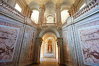 The Baroque Honour Grand Staircase entrance to the Bourbon Kings of Naples Royal Palace of Caserta, Italy.