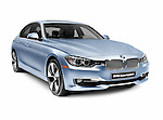 Blue 2012 BMW ActiveHybrid 3 hybrid car isolated on white background with clipping path