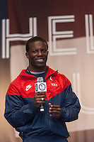 USA Paralympic Track and Field sprinter Jerome Singleton participates in the Road to London 100 Days Out Celebration in Times Square in New York City, New York, USA on Wednesday, April 18, 2012.  Times Square was transformed into an Olympic Village for the event.