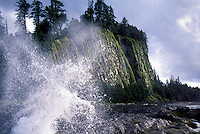Haida Gwaii (Queen Charlotte Islands), Northern BC, British Columbia, Canada - Waves crashing at Tow Hill and North Beach along McIntyre Bay, Naikoon Provincial Park, Graham Island - Agate Beach in Distance