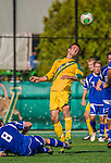 28 September 2013: University of Vermont Catamount Midfielder Charlie DeFeo, a Sophomore from Newfields, NH, in action against the Hartwick College Hawks at Virtue Field in Burlington, Vermont. The Catamounts shut out the visiting Hawks 1-0. Mandatory Credit: Ed Wolfstein Photo *** RAW (NEF) Image File Available ***