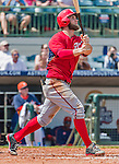 20 March 2015: Washington Nationals outfielder Bryce Harper watches his hit clear the fences for a solo home run during Spring Training action against the Houston Astros at Osceola County Stadium in Kissimmee, Florida. The Nationals defeated the Astros 7-5 in Grapefruit League play. Mandatory Credit: Ed Wolfstein Photo *** RAW (NEF) Image File Available ***