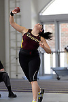 12 MAR 2011: Sarah Reasoner of Calvin College throws shot put during the Division III Men's and Women's Indoor Track and Field Championships held at the Capital Center Fieldhouse on the Capital University campus in Columbus, OH.  Jay LaPrete/NCAA Photos