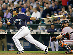 Seattle Mariners' Jose Lopez bats against the Baltimore Orioles at SAFECO Field in Seattle April 19, 2010. The  Mariners beat the Orioles 8-2. Jim Bryant Photo. &copy;2010. ALL RIGHTS RESERVED.