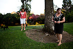 Marlene Hinson, left, and Rhonda Nunes patrol the Stockton, Calif. park near their home, July 11, 2012. Hinson's home has been burglarized three times recently. The bankrupt city has cut back on many services, while residents and private contractors are picking up the slack.