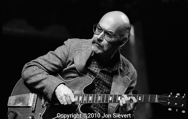 Jim Hall, March 1982, Great American Music Hall. American Jazz guitarist and composer. A player's player, he played with Chico Hamilton Quintet, (1955–1956), Jimmy Giuffre Trio (1956–1959), Ella Fitzgerald (1960–1961), Ben Webster, Hampton Hawes, Bob Brookmeyer, John Lewis, Zoot Sims, Paul Desmond, Lee Konitz and Bill Evans. By 1960 Jim had arrived in New York to work with Sonny Rollins and Art Farmer, among others. His live and recorded collaborations there with Bill Evans, Paul Desmond and Ron Carter have become legendary.