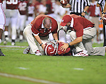 Alabama running back Dee Hart (1) is injured on a punt return at Bryant-Denny Stadium in Tuscaloosa, Ala. on Saturday, September 29, 2012. Alabama won 33-14. Ole Miss falls to 3-2.
