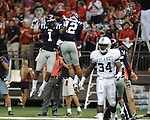 Ole Miss wide receiver Donte Moncrief (12) and Ole Miss' Randall Mackey (1) celebrate a touchdown vs. Tulane in the first half at the Mercedes-Benz Superdone in New Orleans, La. on Saturday, September 22, 2012. Ole Miss won 39-0...