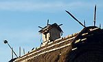Effigy of a tiny home, perched on the roof apex of a traditional home in Luba Village, near Bajawa in central Flores, Indonesia