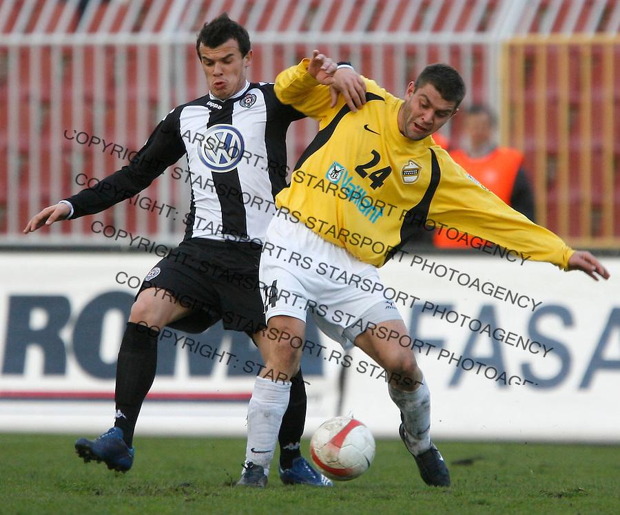Fudbal, Meridijan super liga, sezona 2007/08.Partizan Vs. Cukaricki.Pavle Ninkov, right and Borko Veselinovic, left.Beograd, 10.11.2007..foto: Srdjan Stevanovic