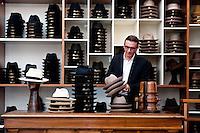 Riccardo Dolci, at the historic Borsalino store in Alessandria, Piemonte, Italy