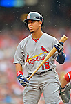 2 September 2012: St. Louis Cardinals outfielder Jon Jay in action against the Washington Nationals at Nationals Park in Washington, DC. The Nationals edged out the visiting Cardinals 4-3, capping their 4-game series with three wins. Mandatory Credit: Ed Wolfstein Photo