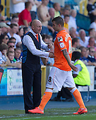 Ian Holloway, Manager, Blackpool FC shakes hands with Tiago Gomes, Blackpool FC following his substitution - Millwall vs Blackpool - NPower Championship Football at the New Den, London - 18/08/12 - MANDATORY CREDIT: Ray Lawrence/TGSPHOTO - Self billing applies where appropriate - 0845 094 6026 - contact@tgsphoto.co.uk - NO UNPAID USE.