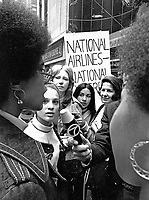 """The National Organization for Women (NOW) protests the """"Fly Me"""" ad campaign released in 1971 by National Airlines. The group denounced the campaign for the depiction of women as sex objects. New York City. Photo by John G. Zimmerman."""