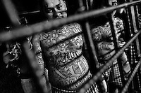 The Mara Salvatrucha gang members are seen behind the bars of cells in a detention center in San Salvador, El Salvador, 20 February 2014. During the last two decades, Central America has become the deadliest region in the world that is not at war. According to the UN statistics, more people per capita were killed in El Salvador than in Iraq, in recent years. Due to the criminal activities of Mara Salvatrucha (MS-13) and 18th Street Gang (M-18), the two major street gangs in El Salvador, the country has fallen into the spiral of fear, violence and death. Thousands of Mara gang members, both on the streets or in the overcrowded prisons, organize and run extortions, distribution of drugs and kidnappings. Tattooed armed young men, mainly from the poorest neighborhoods, fight unmerciful turf battles with their coevals from the rival gang, balancing between life and death every day. Twenty years after the devastating civil war, a social war has paralyzed the nation of El Salvador.