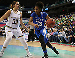 04 March 2016: Duke's Crystal Primm (13) and Notre Dame's Kathryn Westbeld (33). The Duke University Blue Devils played the University of University of Notre Dame Fighting Irish at the Greensboro Coliseum in Greensboro, North Carolina in an Atlantic Coast Conference Women's Basketball Tournament Quarterfinal and a 2015-16 NCAA Division I Women's Basketball game. Notre Dame won the game 83-54.
