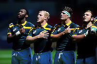 South Africa U20 players sing their national anthem prior to the match. World Rugby U20 Championship 3th Place Play-Off between Argentina U20 and South Africa U20 on June 25, 2016 at the AJ Bell Stadium in Manchester, England. Photo by: Patrick Khachfe / Onside Images