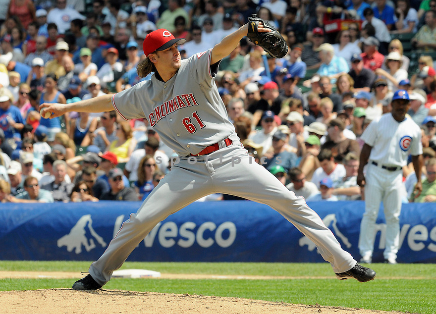 BRONSON ARROYO, of the Cincinnati Reds, in action during the Reds  game against the Chicago Cubs at Wrigley Field in Chicago, IL on August 6, 2010.  The Reds won the game 4-3.