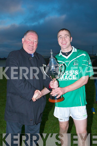 Paud Costello capt of Ballyduff been presented with the Alantic Oil perpetual Cup from Chairman of Kerry County Board after Ballyduff defeated Causeway 1-08 to 10pts in the Acorn Life under 21 County Hurling Championship Final 2010 on Saturday at Kilmoyley.............................. ..........