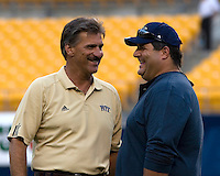 22 September 2007: Pitt head coach Dave Wannstedt andFox Sports sideline reporter and former Baltimore Raven Tony Siragusa..The Connecticut Huskies defeated the Pitt Panthers 34-14 on September 22, 2007 at Heinz Field in Pittsburgh, Pennsylvania.