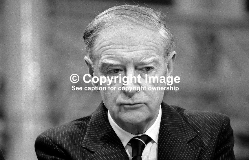 Liam Cosgrave, TD, former leader, Fine Gael, at his party's Ard Fheis in Dublin. 198103000058LC5..Copyright Image from Victor Patterson, 54 Dorchester Park, Belfast, United Kingdom, UK...For my Terms and Conditions of Use go to http://www.victorpatterson.com/Victor_Patterson/Terms_%26_Conditions.html